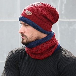 Other - Red Cable Knit Beanie and Ring Scarf Fleece Lining